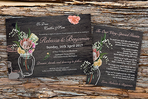 Rustic Australian Native Flora Wedding Invitation Set