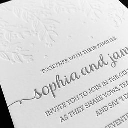 Letterpress Wedding Invitation White and Grey