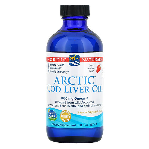 Nordic Naturals, Arctic Cod Liver Oil, Strawberry, 8 fl oz (237 ml)