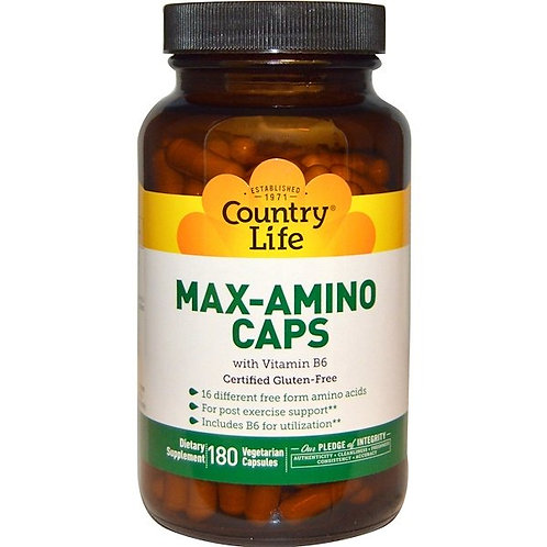 Country Life, Max-Amino Caps with Vitamin B-6, 180 Vegetarian Capsules