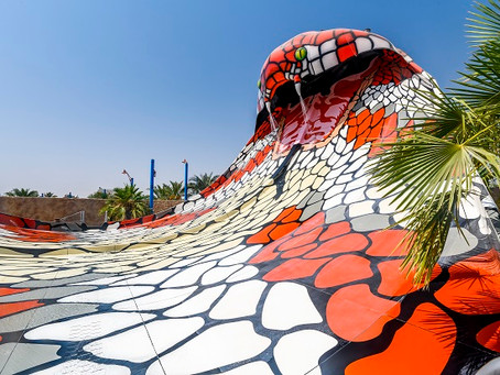 Slide into one of the largest theme parks in the Middle East