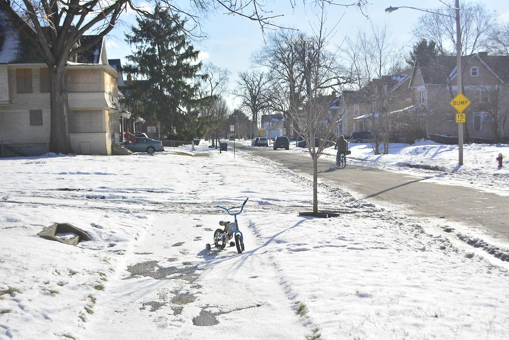 Ohio Toledo winter snow bicycle training wheels