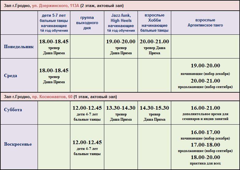 Расписание Занятий в Школе Танцев