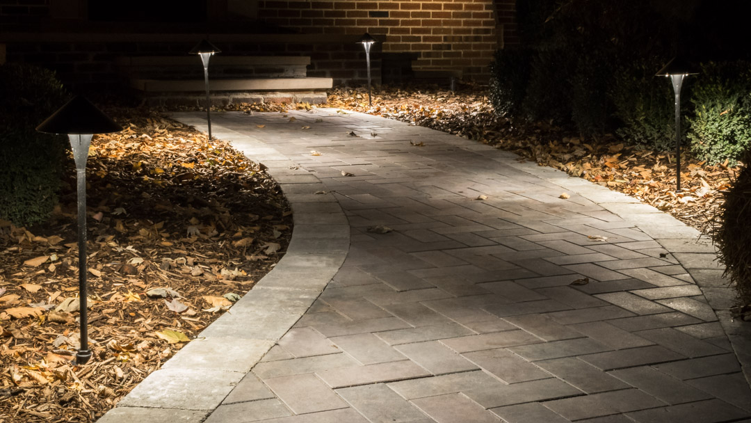 Stone Walkway with Path Lights