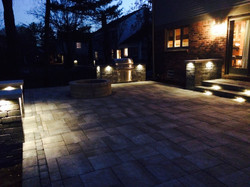 Stone Patio with Step Lights