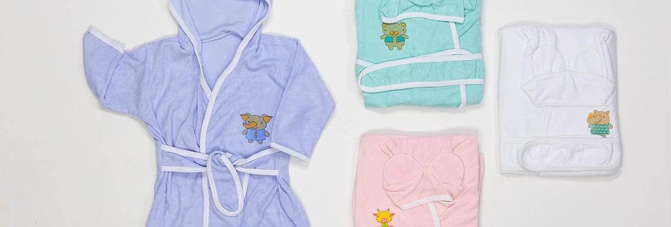 Salida de baño bebe con oreja lisa c/est(towel)
