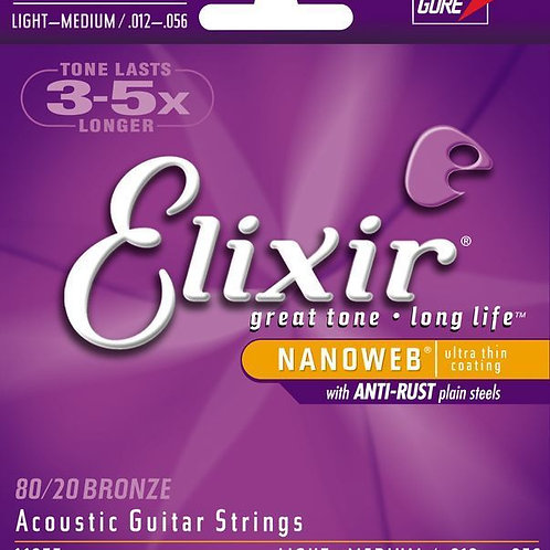 Elixir 80/20 Bronze Acoustic Guitar Stings (Medium)