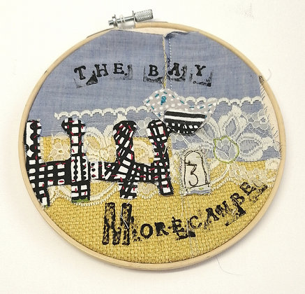 Hand embroidered pictures with Morecambe theme