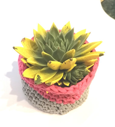 Pink and grey hand crocheted basket in macrame yarn