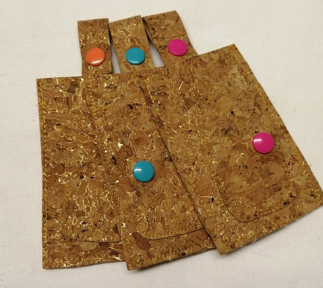 Cork fabric card wallets with coin purse