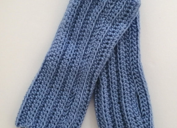 Blue crocheted fingerless mittens