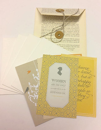 Handmade book paper wallet with handmade  envelopes and Jane Austen postcards.
