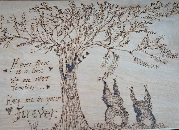Pyrography picture on wood