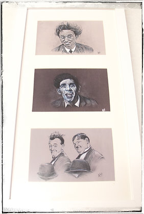 Ken Dodd Norman Wisdom Laurel and Hardy tryptic by Andrew Willis
