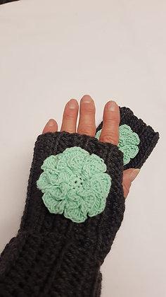 Chunky 100% wool green fingerless mittens with crochet flower detail
