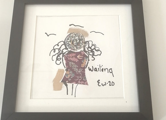 Waiting hand drawn ink illustration with Liberty lawn fabric detail framed pictu