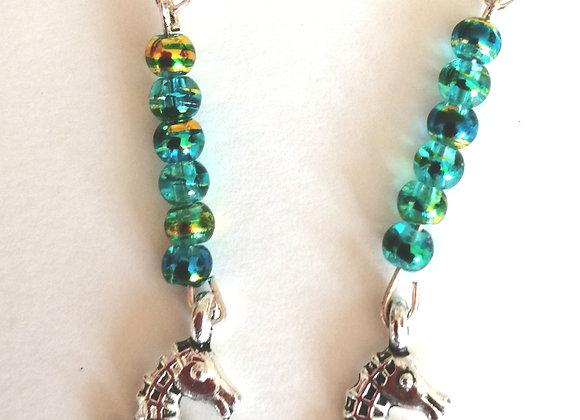 Seahorse Green Earrings