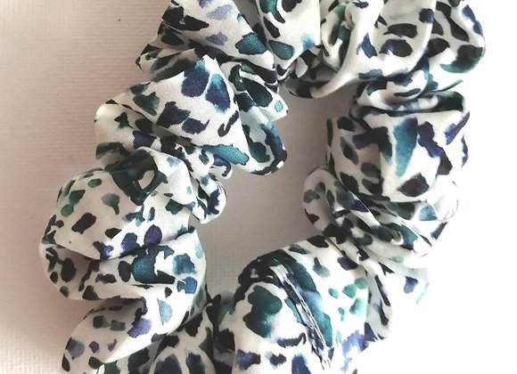 Blue and white scrunchie