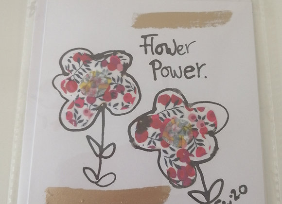 """""""Flower power"""" hand drawn ink illustration with Liberty lawn fabric detail"""