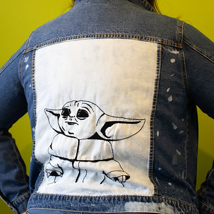 Baby Yoda hand embroidered denim jacket.