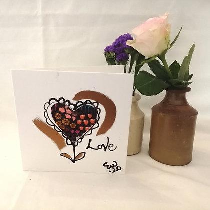 Love flower hand drawn card