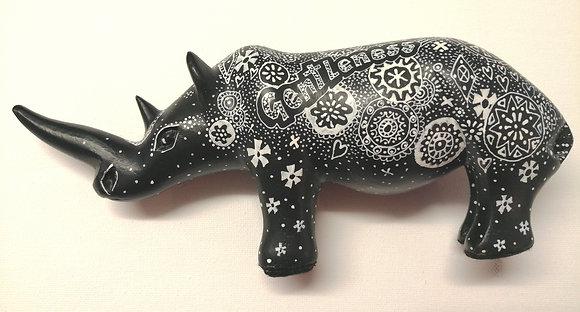Beautiful hand painted rhino sculpture.