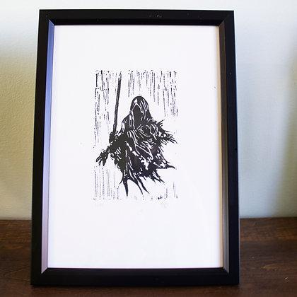 Framed A4 lino print of Nazgul