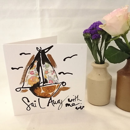 Sail away with me  hand drawn card.