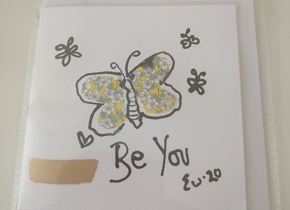 BE YOU hand drawn ink illustration with Liberty lawn fabric detail