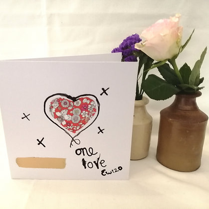 """Hand drawn card """"one love""""  ink illustration with Liberty  lawn fabric detail"""