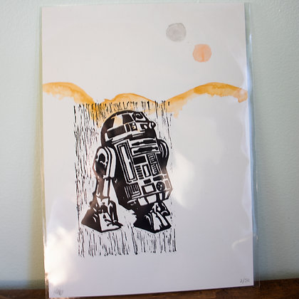 A4 unframed lino print of R2D2 from Star Wars
