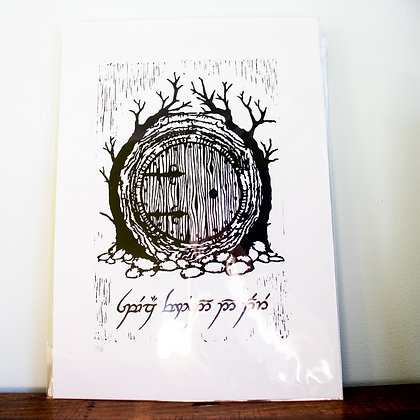 Large unframed Speak friend and Enter Lino print from the Hobbit.