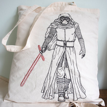 Hand embroidered Kylo Ren tote bag.