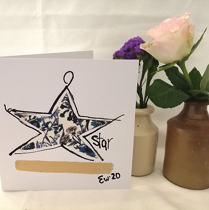 Star hand drawn card with ink illustration and Liberty lawn fabric details