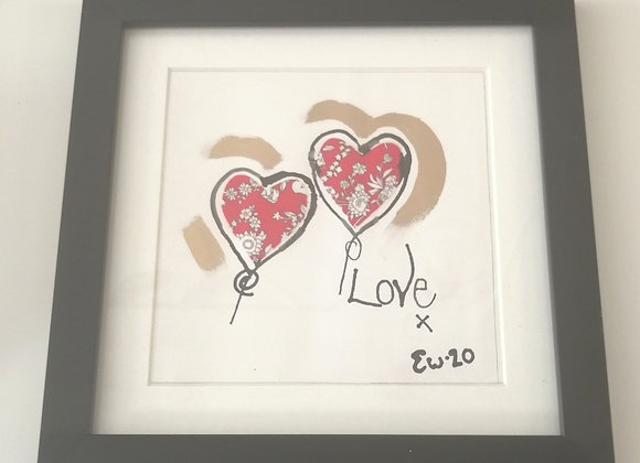 Love hand drawn ink illustration with Liberty lawn fabric detail framed picture