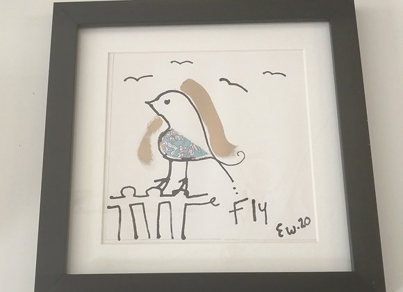 Fly hand drawn ink illustration with Liberty lawn fabric detail framed picture