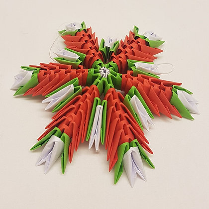 Origami red and green snowflake