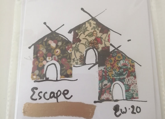 """""""Escape"""" hand drawn ink illustration with Liberty lawn fabric detail"""