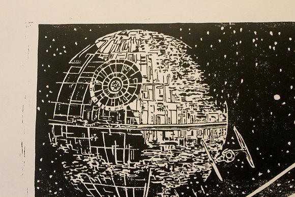 Return of the Jedi large framed lino cut print