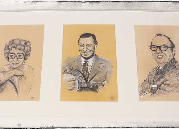 Tryptic prints Thora Hird George Forby Eric Morecambe by Andrew Willis