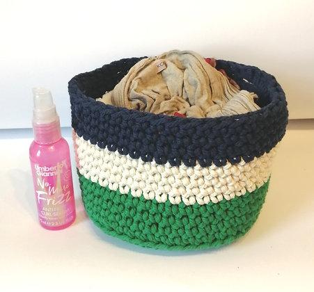 Navy white and green hand crocheted basket in macrame yarn