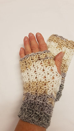 Cream and grey 100% supersoft  acrylic Fingerless Gloves
