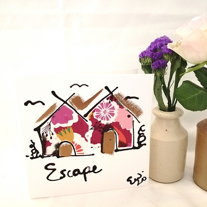 Escape hand drawn card with ink illustration and fabric detail