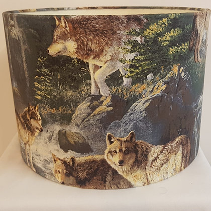 Medium wolf pattern lampshade