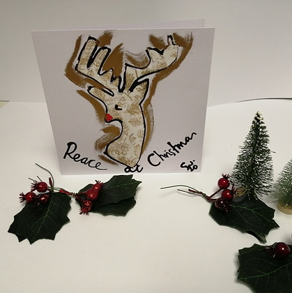 Peace hand drawn Christmas card
