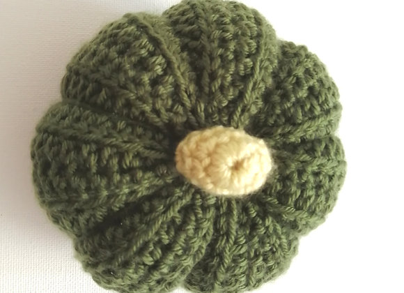 Green crochet pumpkin