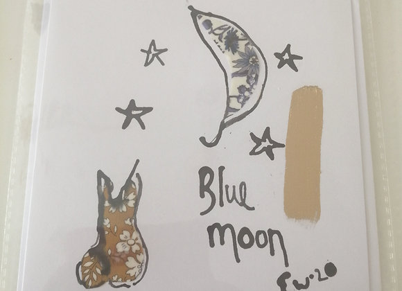 """Blue Moon"" hand drawn illustration with Liberty lawn fabric detail"