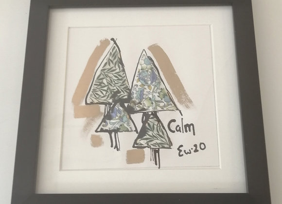 Calm hand drawn ink illustration with Liberty lawn fabric detail framed picture