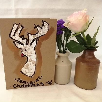 Peace hand drawn Christmas card on Kraft Card