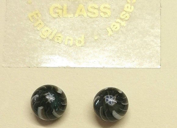 Black and white fused glass earrings with sterling silver back